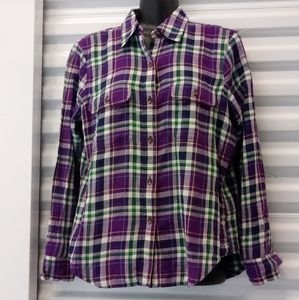Chaps Plaid Soft Women's Top Shirt Petite Medium